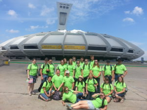 4-H Ormstown with their twins from Alberta in front of the Olympic Stadium, 2015