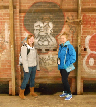"Quebec 4-H Delegate, Jessica Rouleau (right) during the tour of ""Brickworks"""