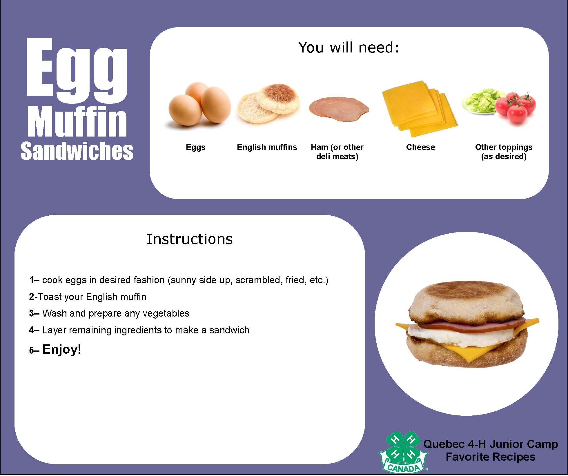 Recipe Cards Egg Muffin Sandwiches Quebec 4 H